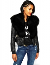 Black Fashion Women Casual Artificial Fur Collar Patchwork Jacket Outwear