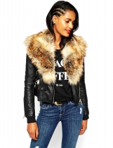 Brown Fashion Women Casual Artificial Fur Collar Patchwork Jacket Outwear