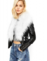 White Fashion Women Casual Artificial Fur Collar Patchwork Jacket Outwear
