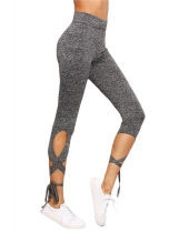 Grey Women Wind-wrapped Dance Ballet Tight Bandages Leggings Calf-Length Yoga Pants