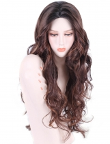 New Women Fashion Casual Long Curly Hair Wigs High Temperature Silk Make Up Wig