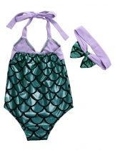 New Girls Kids Mermaid Bow Bikini Maillot de bain Maillot de bain Natation avec bandeau